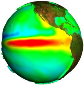 El Niño in 1997 by the Topex/Poséidon satellite. Crédits : ESA.