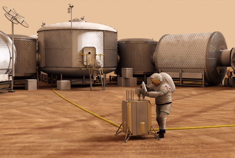 Prospective - vie sur Mars (vue d'artiste)