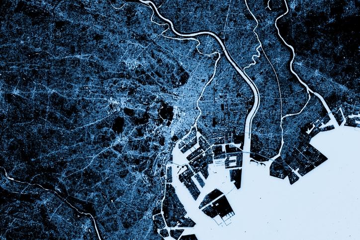 Blue toned Satellite Image of Tokyo, Japan. Copernicus Sentinel data (December 09, 2016).