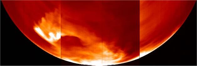 Répartition des émissions d'oxygène sur la planète Vénus (face nocturne, vue du pole sud)