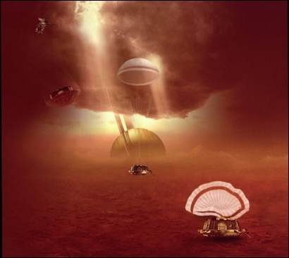 Principales phases de la descente de la sonde HUYGENS dans l'atmosphère de Titan. Crédits : ESA