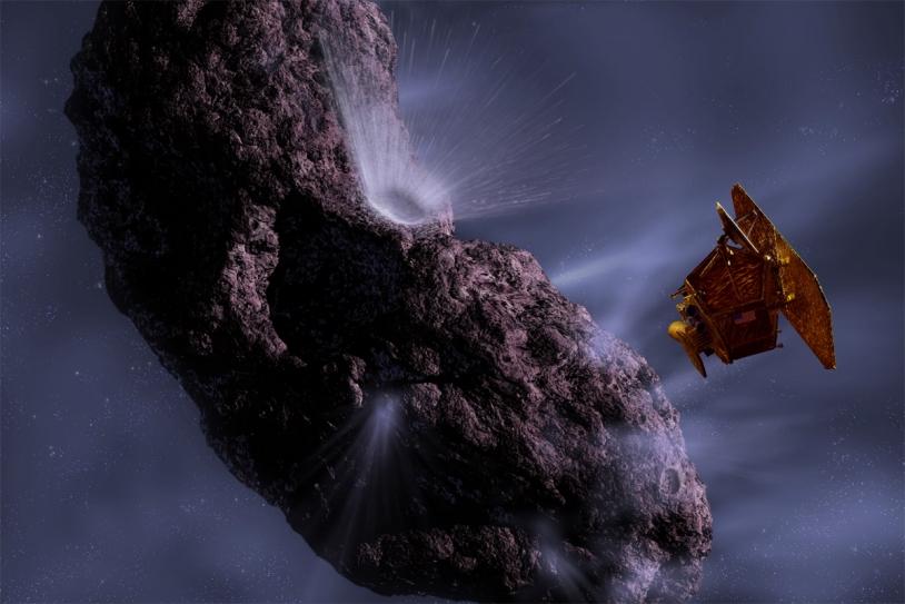 Rencontre entre l'impacteur de la sonde Deep Impact et la comète Temple-1 en 2005. Crédits : NASA, JPL, UMA/Ill. Pat Rawlings.